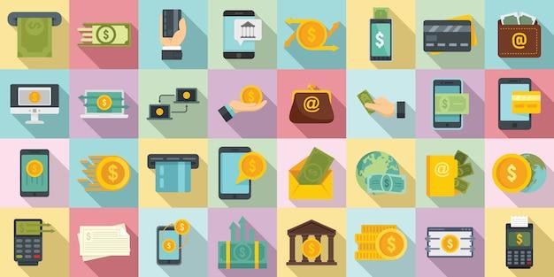 Money transfer icons set