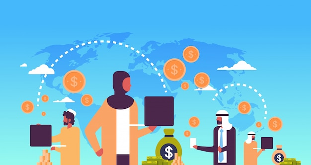 Money transfer illustration with arabic people