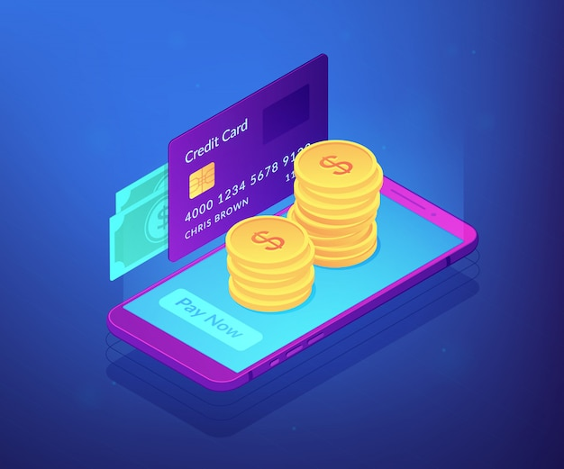 Money transfer isometric 3d concept illustration.