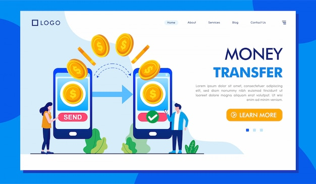 Money transfer landing page website