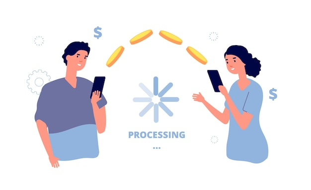 Money transfer. mobile payment transaction service. people transfer money from phone to phone.