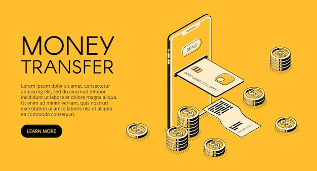 Money transfer mobile phone technology illustration of online bank payment in smartphone