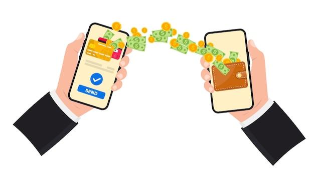 송금. 온라인 결제. 휴대전화로 무선으로 송금하고 송금하세요. 은행 결제 앱이 있는 전화. 자본 흐름, 수익. 금융 저축 또는 경제. 휴대 전화에 온라인으로 돈