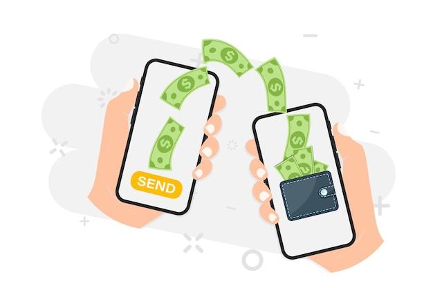 Перевод денег. онлайн платеж. отправляйте и получайте деньги по беспроводной сети со своего телефона. телефон с приложением для банковских платежей. поток капитала, заработок. финансовая экономия или экономия. деньги онлайн на мобильный телефон