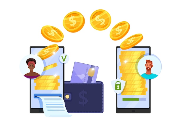 Денежные переводы или безопасные мобильные платежи концепция онлайн-финансов с помощью смартфонов, летающих монет, кошелька, кредитной карты.