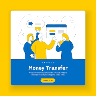Money transfer square banner template. contemporary friends browsing modern tablet and using credit card to transfer money online. flat style illustration, thin line art design