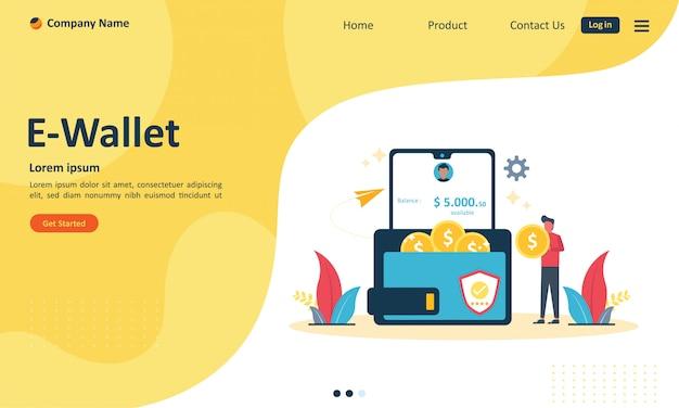 웹 랜딩 페이지를위한 전자 지갑 개념으로 송금
