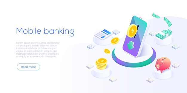 Money transfer via cellphone in isometric design. digital payment or online cashback service. mobile banking transaction concept. withdraw deposit with smartphone.