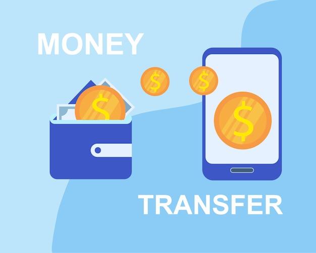 Money transfer wallet to smartphone application vector illustration