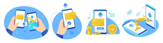 Money transfers. online shopping, digital payments and hand handing phone with coins transfer app illustration set.