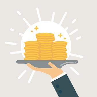 Money on tray illustration.