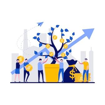 Концепция денежного дерева с крошечным характером.