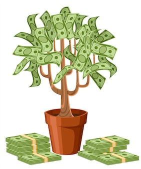 金のなる木。緑の現金紙幣。陶磁器の鍋の木。白い背景のイラスト。 webサイトページとモバイルアプリ