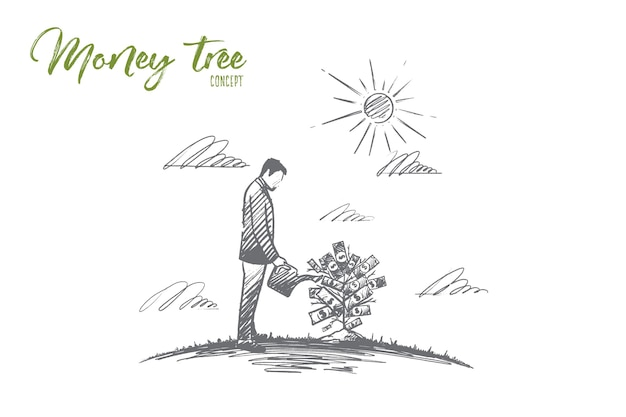 Money tree. hand drawn growing money tree. a man watering money tree isolated illustration.