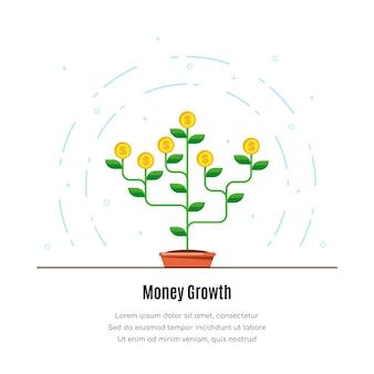 Иконка денежное дерево иллюстрация концепции роста денег инвесторов