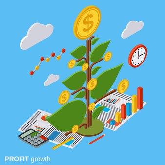 Money tree isometric vector concept illustration