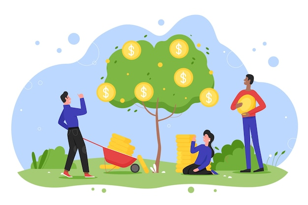 Money tree plant growth flat vector illustration, cartoon happy entrepreneur people planting money tree with cash gold coins in garden, growing income