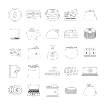 Money types icons set