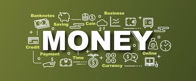 Money vector trendy banner