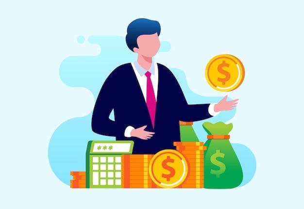 Деньги кошелек концепция заработка онлайн оплаты плоские векторные иллюстрации для баннера и целевой страницы