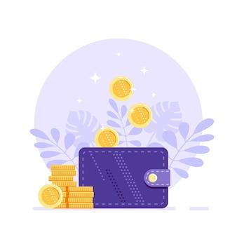 コイン付きのお金の財布。お金の収入、貯蓄と収入、キャッシュバックまたはお金の払い戻しの概念。
