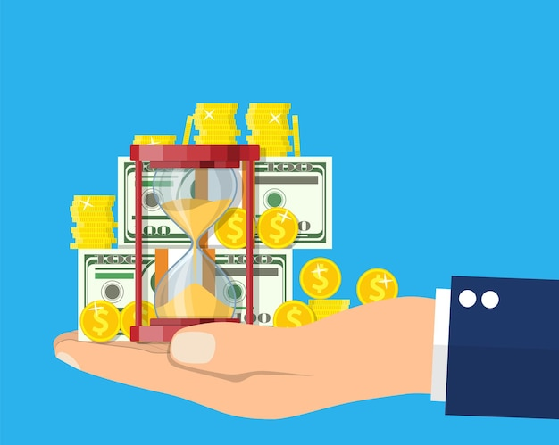 Money with hourglass clock in hand.