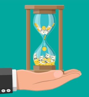 Money with hourglass clock in hand