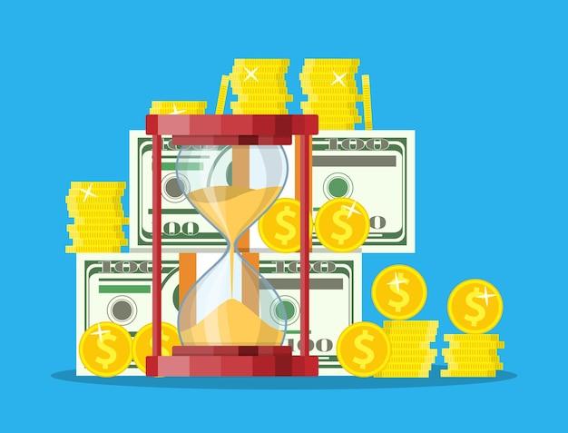 Money with hourglass clock.