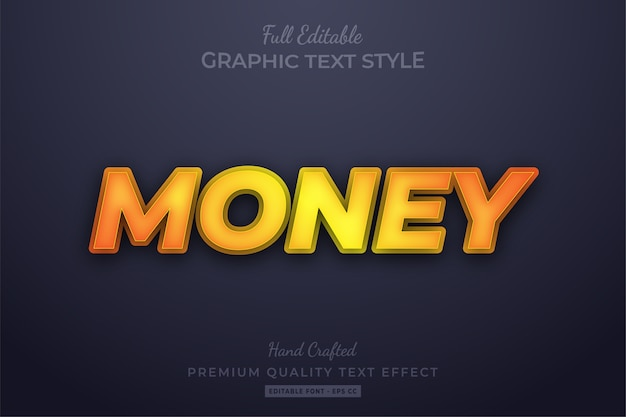 Money yellow editable 3d text style effect