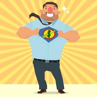 Moneyman opening shirt in superhero style. super businessman.