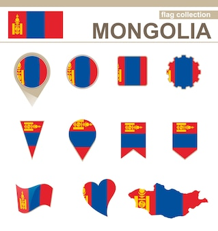 Mongolia flag collection, 12 versions