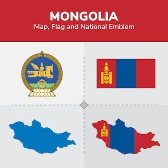 Mongolia map, flag and national emblem
