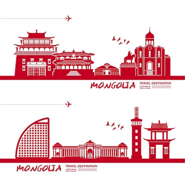 Mongolia travel destination  illustration.
