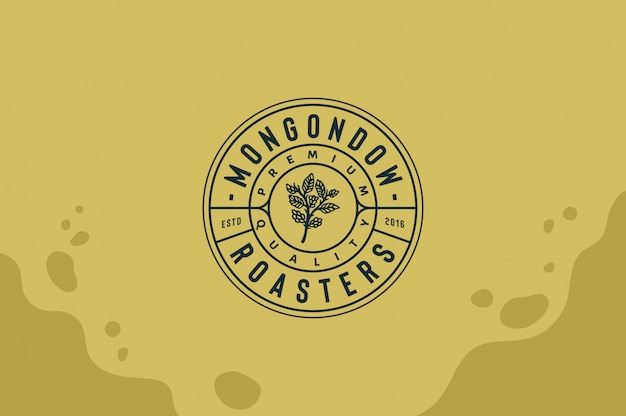 Mongondow coffee house logo with coffee leave in hand fully editable text, color and outline