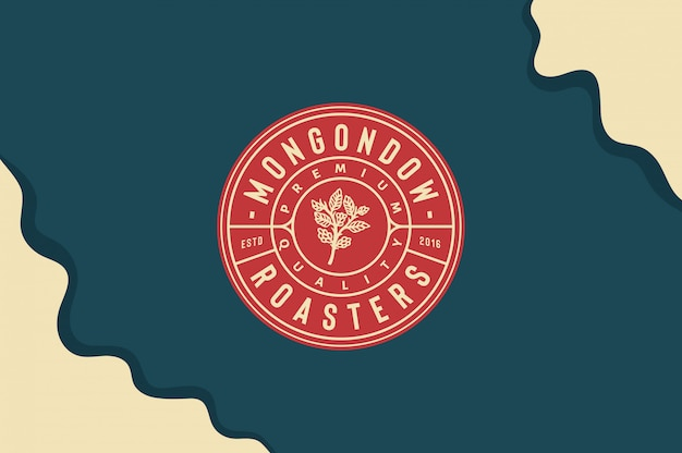 Mongondow roasters logo with coffee leave in hand完全に編集可能なテキスト、色、輪郭
