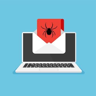 모니터 및 바이러스 경고 디스플레이에 메일 또는 컴퓨터 스파이더 아이콘 해킹