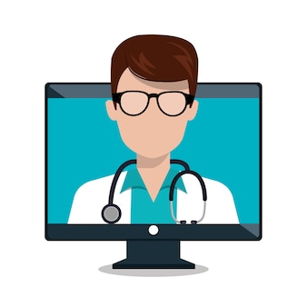Monitor doctor stethoscope consultation online isolated
