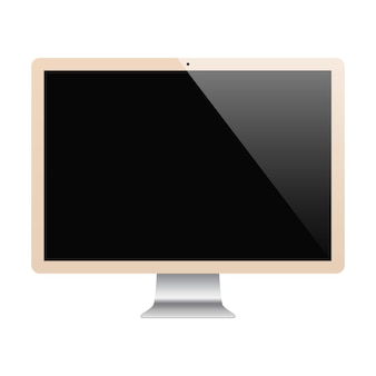Monitor gold color with blank screen isolated on white background. stock illustration