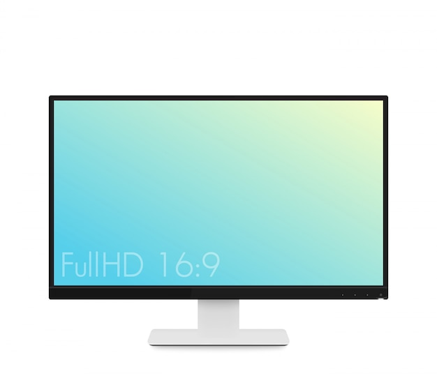 Monitor mockup, modern realistic computer display with wide screen and thin frames, illustration