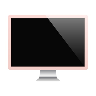 Monitor rose gold color with blank screen isolated on white background.