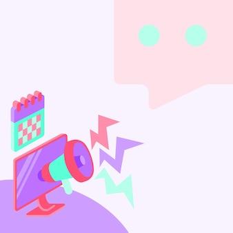 Рисунок экрана монитора с мегафоном, создающим освещение для рисунка экрана компьютера сообщения