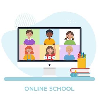 学童とのビデオ会議で画面を監視します。オンライン教育の概念。フラットイラスト