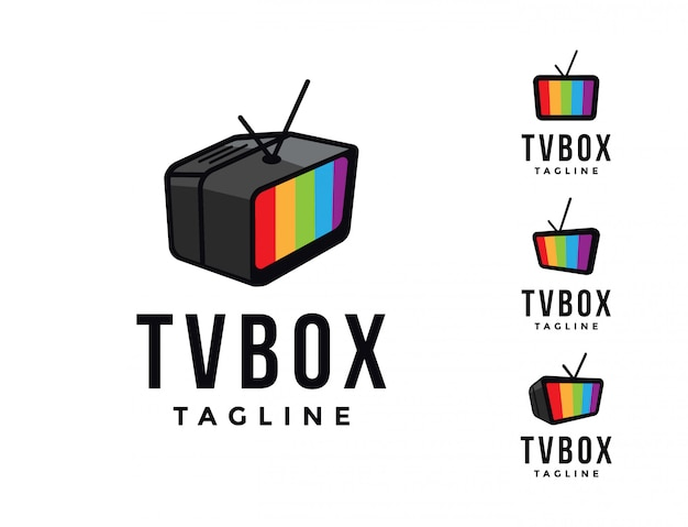 Monitor television tv box logo template, broadcasting entertainment graphic