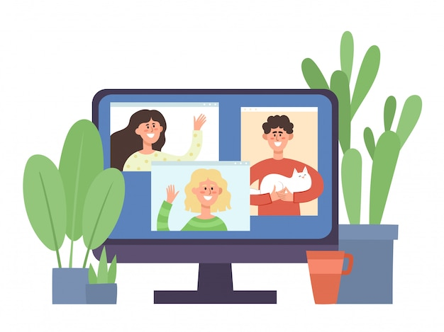 Monitor with young people communicating in video conference. online communication party during of self-isolation from coronavirus, concept  illustration