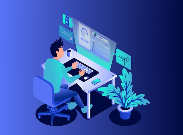 Monitoring an amateur radio transmission profile from floating computer screen - isometric illustration