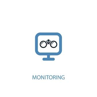 모니터링 개념 2 컬러 아이콘입니다. 간단한 파란색 요소 그림입니다. 모니터링 개념 기호 디자인입니다. 웹 및 모바일 ui/ux에 사용할 수 있습니다.