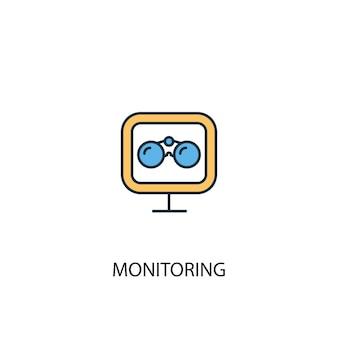 모니터링 개념 2 컬러 라인 아이콘입니다. 간단한 노란색과 파란색 요소 그림입니다. 모니터링 개념 개요 기호 디자인