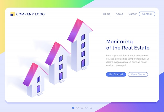 不動産バナーの監視。建物やアパートの価格上昇、不動産投資の概念。等尺性住宅イラストと不動産管理のランディングページ