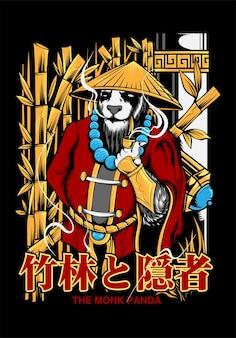 Монах панда искусство иллюстрации вектор дизайн одежды, иллюстрации для футболки вектор