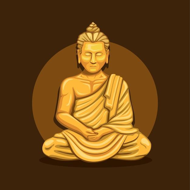 Монах молиться медитации в золотой статуе буддийской религии